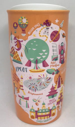 Disney Parks Starbucks Epcot Attractions Map Coffee Tumbler Mug New