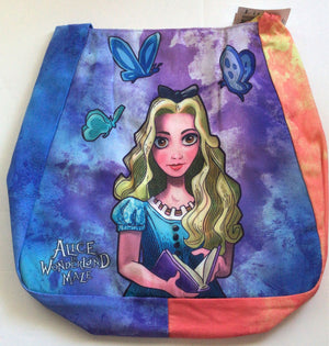 Disney Parks Shanghai Alice & White Rabbit Watercolor Tiedye Hobo Tote New w Tag