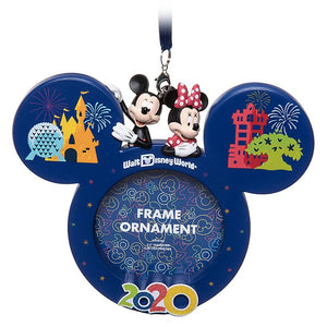 Disney Parks WDW 2020 Mickey and Minnie Photo Frame Ornament New with Tag