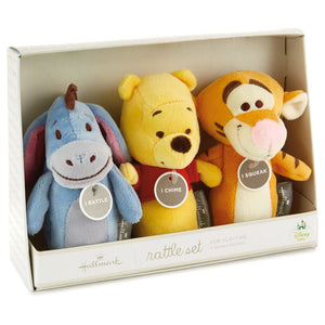 Hallmark Keepsake Itty Bittys Winnie Set of 3 Baby Rattle Plush New with Tags