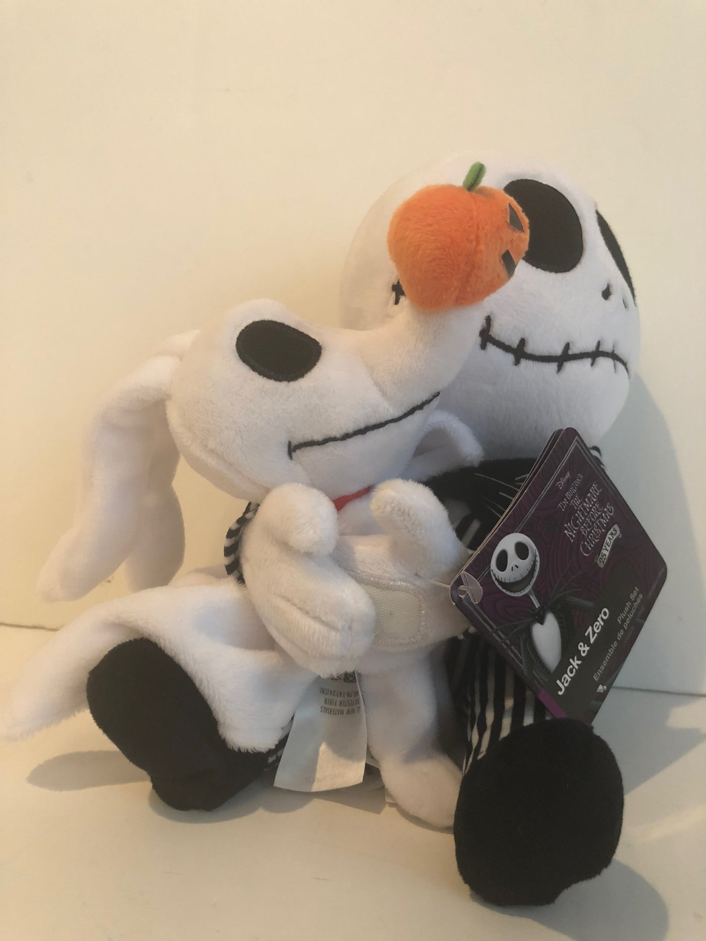 disney the nightmare before christmas jack skellington and zero plush set new