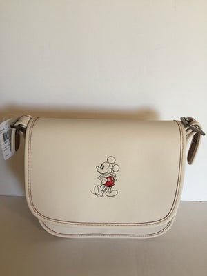 Disney X Coach Mickey Leather Patricia 23 Shoulder Bag Chalk White New with Tags