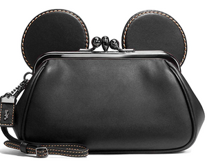 Disney X Coach Mickey Kiss Lock Leather Black Wristlet New with Tag