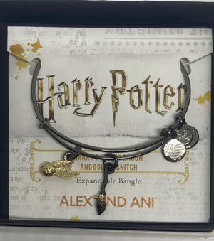 Alex Ani Harry Potter Quidditch Two Tone Bangle Midnight Silver Finish New w Box