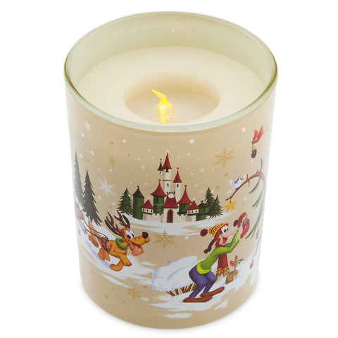 Disney Parks Christmas Mickey & Friends Holiday Light-Up Candle New