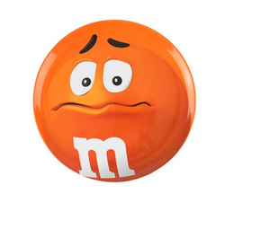 M&M's World 2020 Orange Character Big Face Dinner Plate New