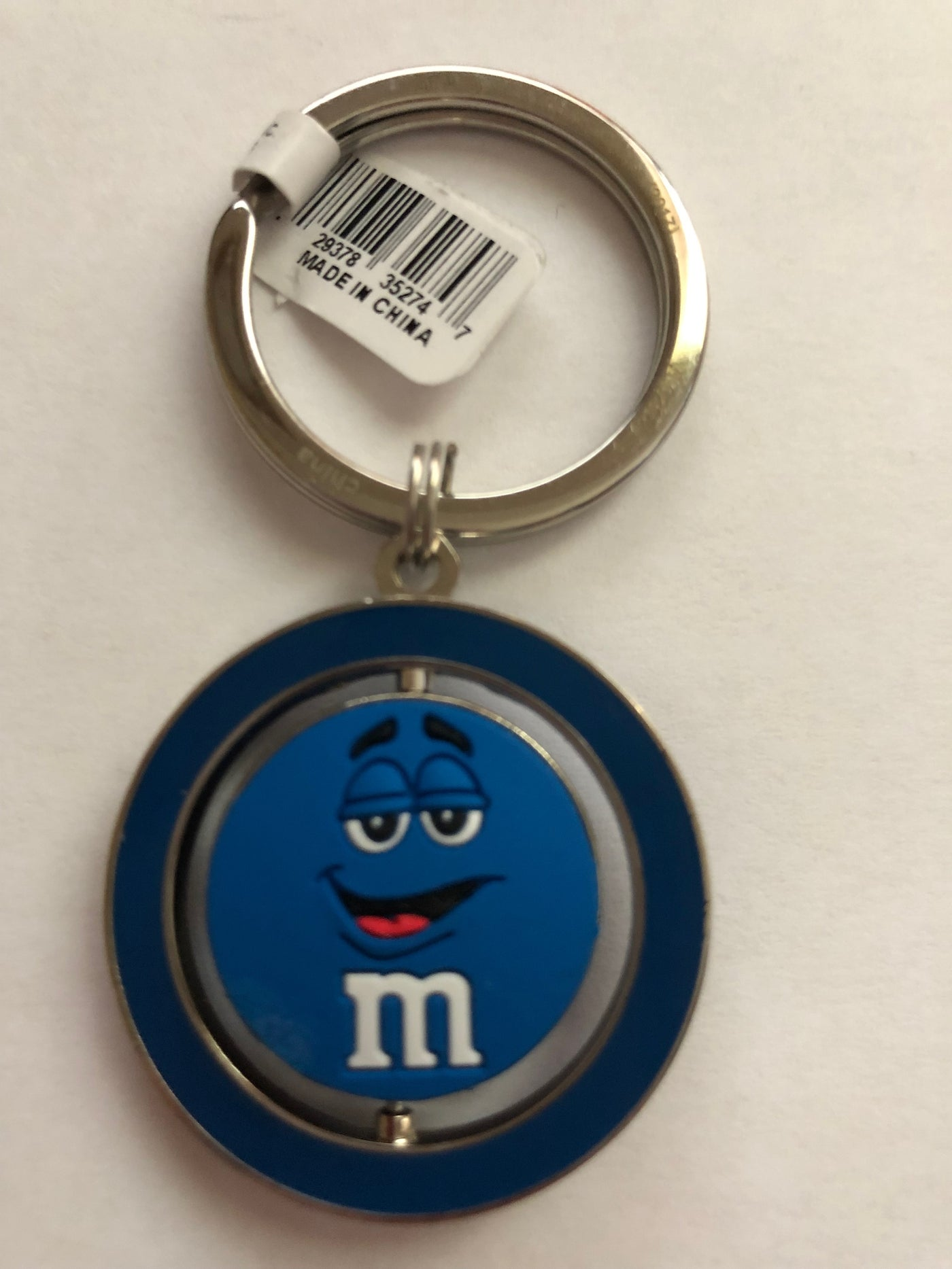 M/&M/'s World Blue Character Big Face PVC Spinning Keychain New with Tag
