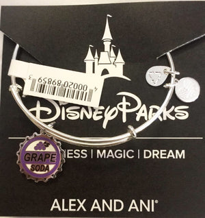 Disney Alex and Ani Pixar UP Grape Soda Bracelet Silver Finish New with Tags