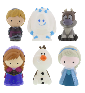 disney store frozen anna elsa kristoff 6 pcs plastic bath toys new with case