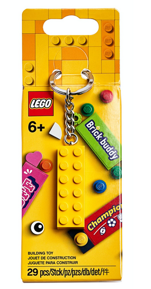Lego 853989 Celebration Bag Charm Yellow Brick Attached To A Chain And Ring New