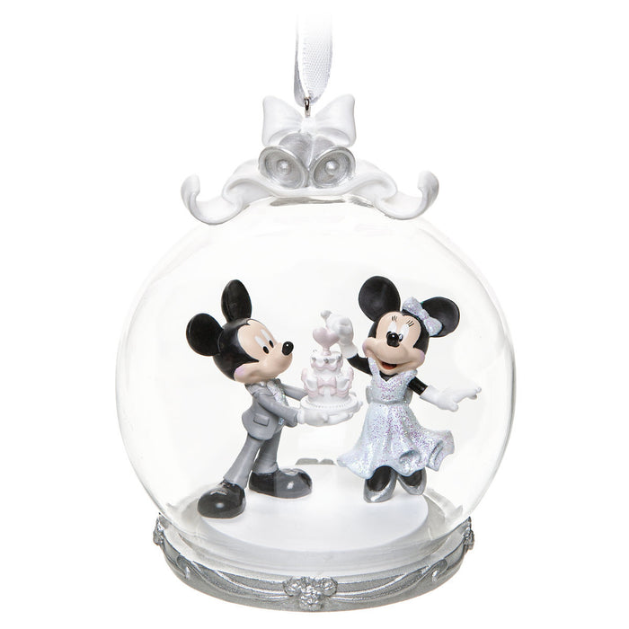 Disney Mickey and Minnie Mouse Wedding Globe Christmas Ornament New