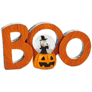Hallmark Peanuts Halloween Snoopy Boo Snow Globe Word Decor 7.5x4 New