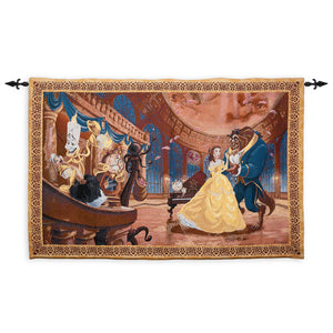 disney parks tapestry beauty & the beast tapestry wall hanging throw new sealed