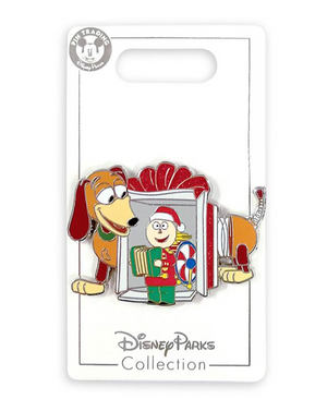 Disney Parks Toy Story Slinky Dog and Tinny Christmas Holiday Pin New with Card