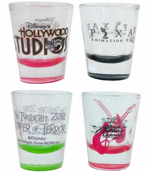Disney Parks Hollywood Studios Shot Glass Set of 4 Pixar Tower Terror New