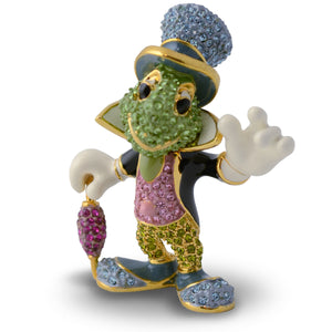 "Disney Parks Jiminy Cricket Jeweled Figurine by Arribas Brothers 1 3/4"" New"