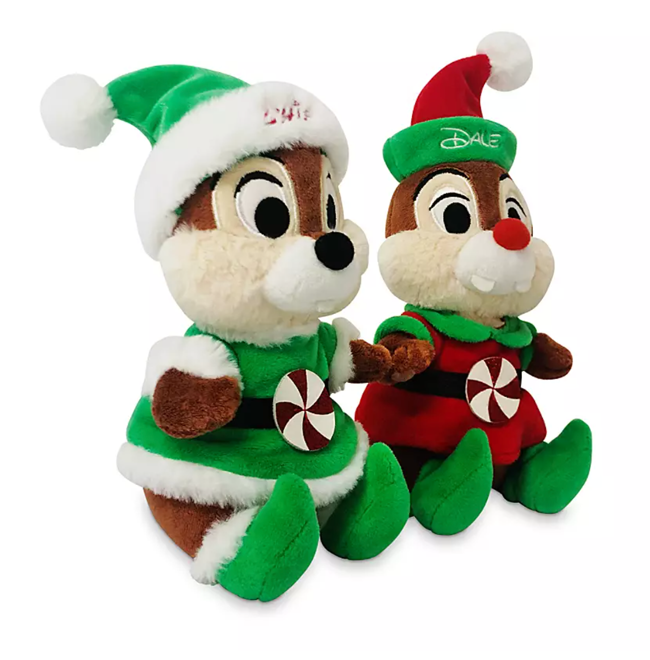 Disney Chip N Dale Peppermint Holiday Christmas Small Plush Set New W I Love Characters