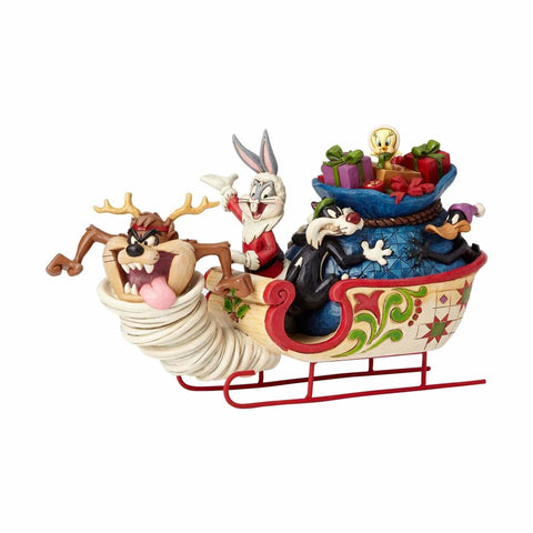 Looney Tunes Christmas Sleigh Ride Jim Shore Resin Figurine New with Box