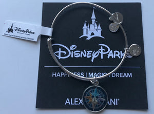 Disney Alex and Ani Travel Passport Mickey Mouse Compass Rose Bracelet Silver