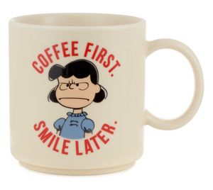 Hallmark Peanuts Lucy Coffee First Smile Later Coffee Mug New