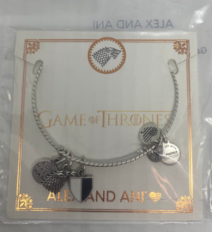 Alex Ani Game of Thrones Arya Stark Charm Bangle Silver Finish New with Tag