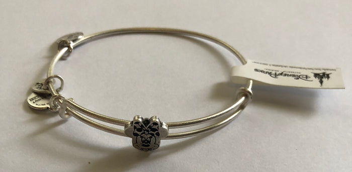 Disney Alex and Ani Parks Minnie Slider Bracelet Bangle Silver Finish New With Tags