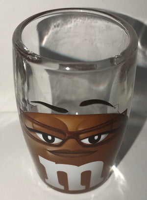 M&M's World Brown Big Face Clear Shot Glass New
