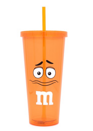 M&M's World Orange Character Lip Tumbler with Straw New