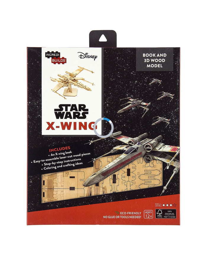 Disney Parks Star Wars X-Wing Book and 3D Wood Model Kit 3D New
