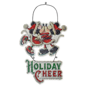 Disney Parks Santa Mickey Minnie Holiday Cheer Metal Holiday Sign New with Tags