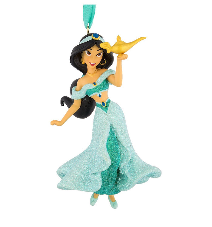 Disney Parks Jasmine with Lamp 3D Glitter Christmas Ornament New with Tags