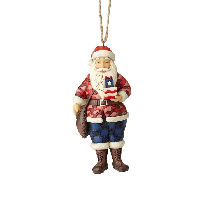 Jim Shore Camouflage Santa Christmas Ornament New with Box