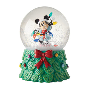 Disney Department 56 Mickey with Lights Christmas Snow Globe New with Box