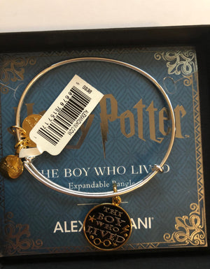 Alex Ani Harry Potter The Boy Who Lived Two Tone Charm Bangle New with Box