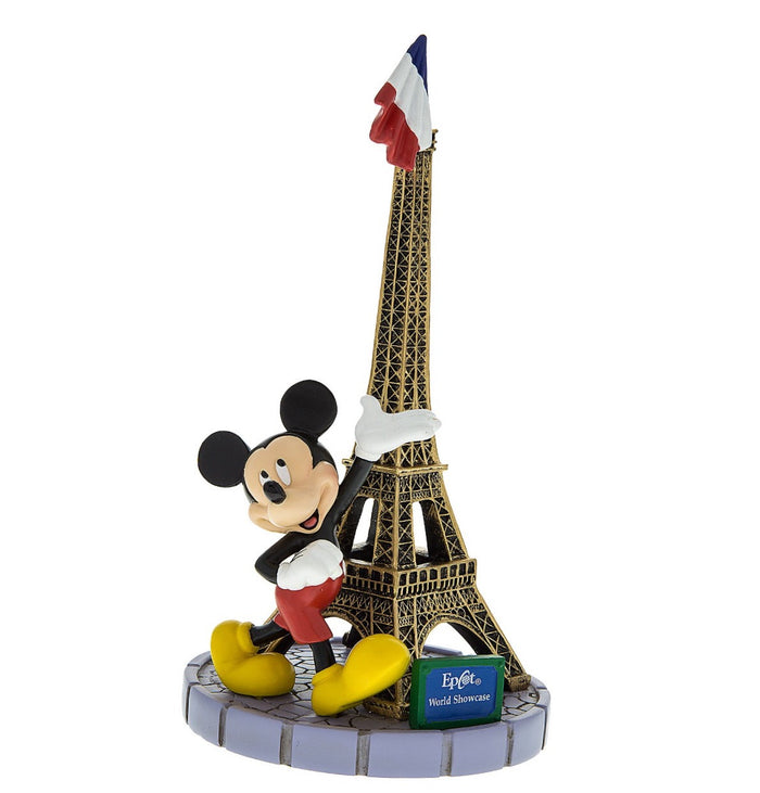 disney parks epcot paris mickey mouse with tower eiffel figurine flag new with tags
