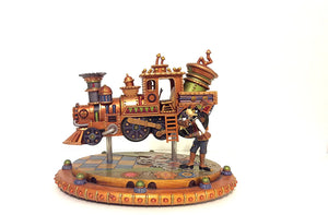 Disney Parks Mechanical Kingdom Steampunk Goofy Train Light Up Figurine Statue