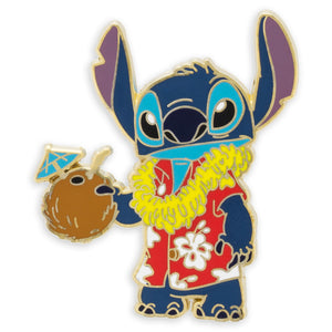 Disney Parks Stitch Aloha Hawaiian Print Shirt Pin New with Card