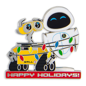 Disney Parks Wall-e and Eve Happy Holiday Pin New with Card
