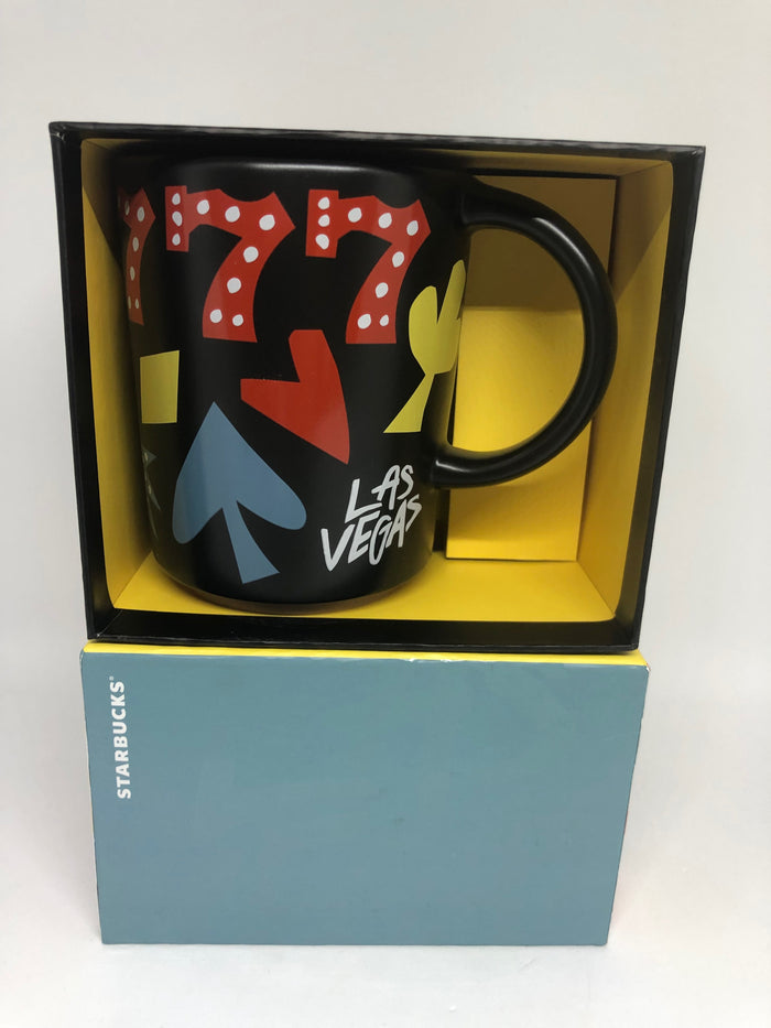 Starbucks Las Vegas Lucky 777 Black Ceramic Coffee Mug New with Box