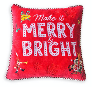 Disney Mickey and Minnie Made It Merry and Bright Holiday Throw Pillow New Tag