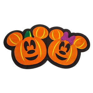 Disney Mickey and Minnie Mouse Jack-o'-Lantern Halloween Doormat New