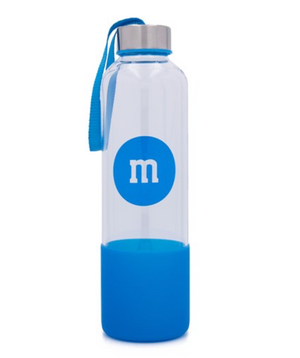 M&M's World Blue Character Water Glass Bottle with Silicone Bottom New