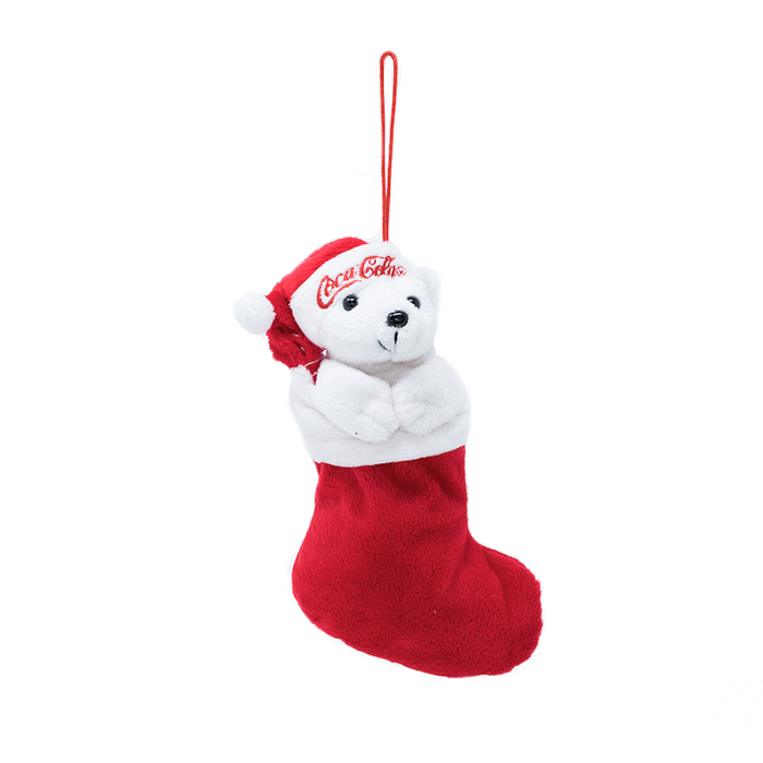 Authentic Coca Cola Coke Polar Bear Stocking Plush Christmas Ornament New w Tags