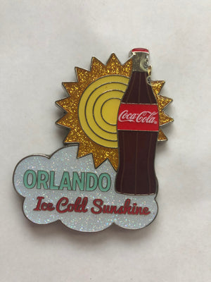 Authentic Coca-Cola Coke Orlando Bottle and Sun Glitter Metal Magnet New