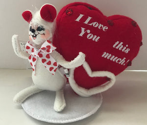 Annalee Dolls 5in 2008 Valentine I Love You This Much Mouse Plush New with Tags