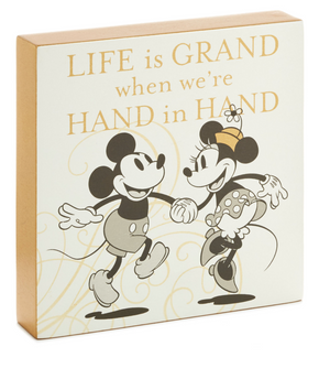 Hallmark Disney Mickey and Minnie Love Hand in Hand Wood Quote Sign New