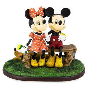 disney parks mickey and minnie mouse pluto puppy love statue new with box