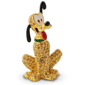 Disney Parks Pluto Jeweled Figurine by Arribas Brothers New with Box