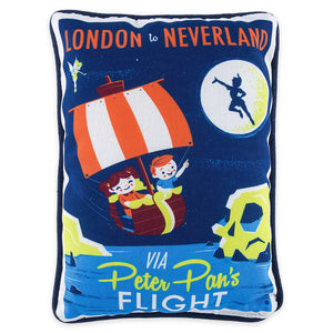 Disney Peter Pan's Flight Retro London To Nerverland Pillow New With Tag