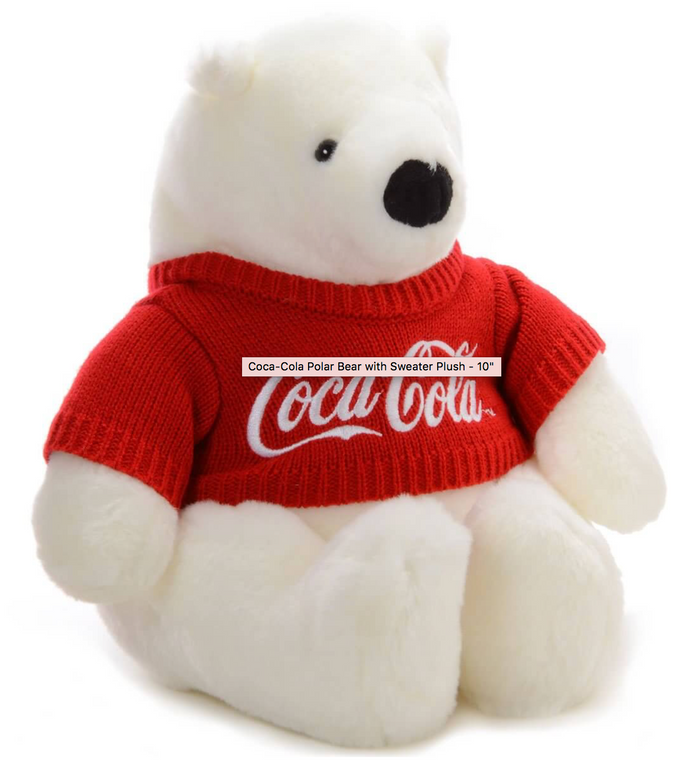Authentic Coca-Cola Coke Polar Bear with Sweater Plush 10 inc New with Tag